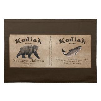Etiqueta de los salmones del Kodiak del vintage Mantel Individual