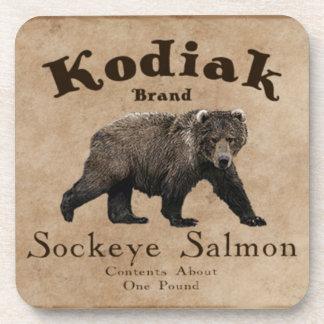 Etiqueta de los salmones del Kodiak del vintage Posavasos De Bebida