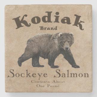 Etiqueta de los salmones del Kodiak del vintage