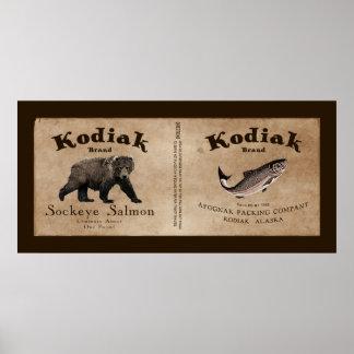 Etiqueta de los salmones del Kodiak del vintage Póster