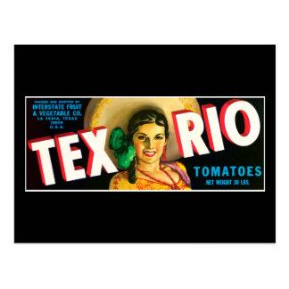 Etiqueta de los tomates de Tex Río del vintage Tarjeta Postal