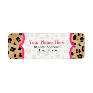 Etiqueta de lujo del remite del estampado leopardo etiqueta de remite