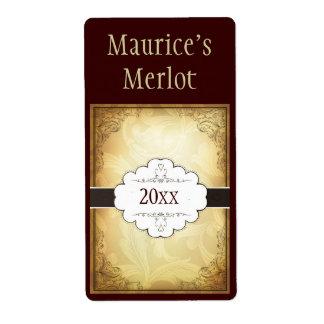 Etiqueta de lujo del vino etiqueta de envío