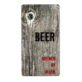 etiqueta de madera de la botella de cerveza de la etiqueta de envío