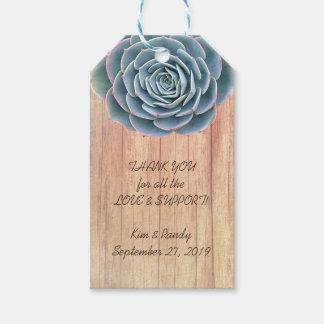 Etiqueta de madera suculenta azul del regalo del etiquetas para regalos