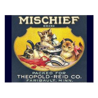 Etiqueta de marca de la travesura del vintage postales