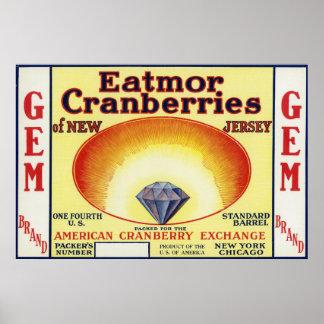 Etiqueta de marca de los arándanos de Eatmor de la Póster