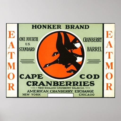 Etiqueta de marca de los arándanos de Eatmor del H Póster