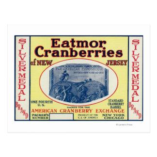 Etiqueta de marca de los arándanos de Eatmor del Postal