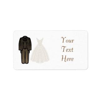 Etiqueta de marfil de novia y del novio etiqueta de dirección