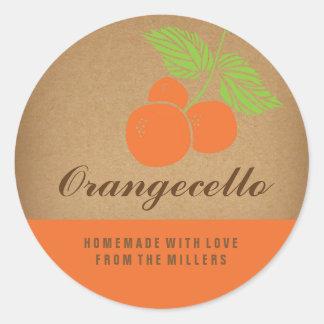 Etiqueta de Orangecello, pegatina anaranjado