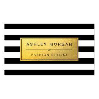 Etiqueta de oro clásica con las rayas blancas tarjetas de visita