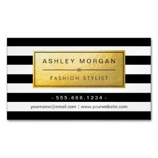 Etiqueta de oro clásica con las rayas blancas tarjetas de visita magnéticas (paquete de 25)