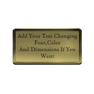 Etiqueta de oro de la placa etiqueta de dirección
