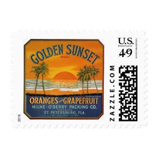 Etiqueta de oro del cajón de la fruta de la puesta sellos postales