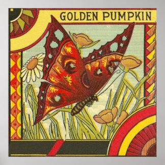 Etiqueta de oro del cajón del vintage de la póster