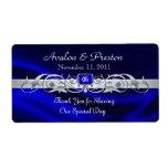 Etiqueta de plata de seda azul del boda del vino d etiqueta de envío