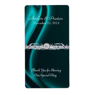 Etiqueta de plata de seda del boda del vino de la  etiqueta de envío