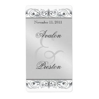 Etiqueta de plata del boda del vino de la grande d etiquetas de envío
