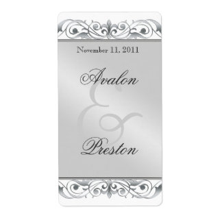 Etiqueta de plata del boda del vino de la grande d etiqueta de envío
