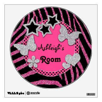 Etiqueta de plata negra rosada de la pared de la c