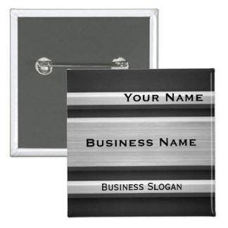 Etiqueta de plata y negra del nombre comercial de  pin cuadrada 5 cm
