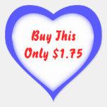 Etiqueta de precio de la forma del corazón de la