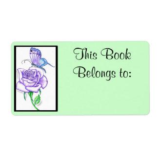 Etiqueta de propiedad color de rosa violeta del li etiquetas de envío