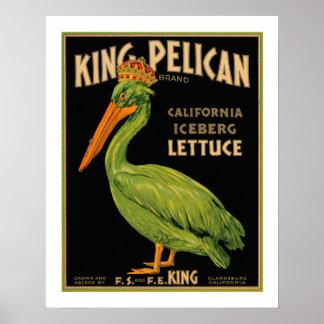 Etiqueta de rey Pelican Lettuce Produce Crate - po Impresiones
