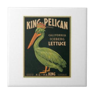 Etiqueta de rey Pelican Lettuce Vintage Crate Azulejo Cuadrado Pequeño