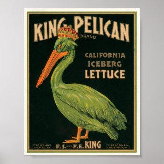 Etiqueta de rey Pelican Lettuce Vintage Crate Posters