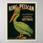 Etiqueta de rey Pelican Lettuce Vintage Crate Póster