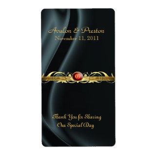 Etiqueta de rubíes de seda negra del boda del vino etiqueta de envío