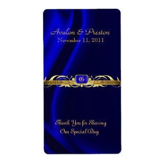 Etiqueta de seda azul del boda del vino de la volu etiquetas de envío