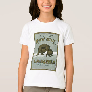 Etiqueta de seda japonesa del vintage de los osos playera