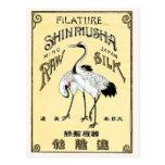 Etiqueta de seda japonesa del vintage de los pájar postales