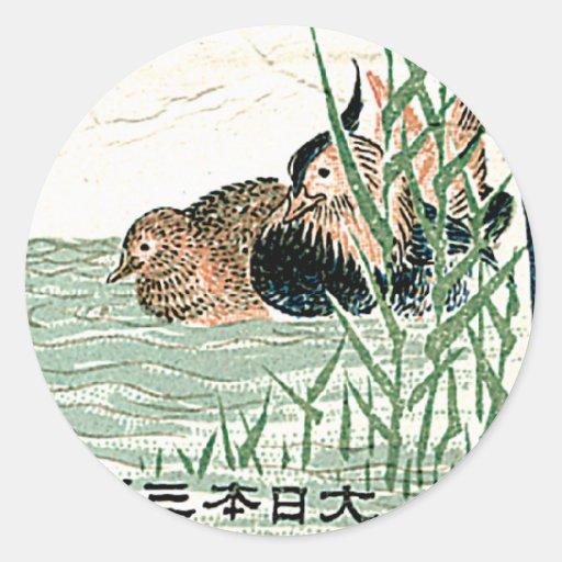Etiqueta de seda japonesa del vintage de los patos