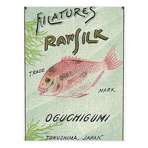 Etiqueta de seda japonesa del vintage de los pesca tarjetas postales