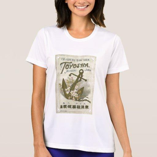 Etiqueta de seda japonesa del vintage del ancla camisetas