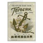 Etiqueta de seda japonesa del vintage del ancla tarjeta
