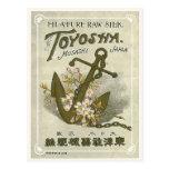 Etiqueta de seda japonesa del vintage del ancla tarjeta postal