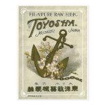 Etiqueta de seda japonesa del vintage del ancla tarjetas postales