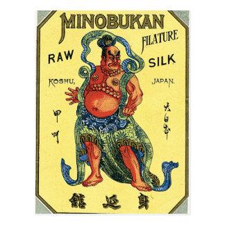 Etiqueta de seda japonesa del vintage del sumo tarjetas postales