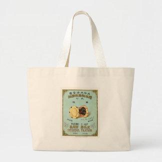 Etiqueta de seda japonesa del vintage del tambor bolsa tela grande