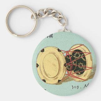 Etiqueta de seda japonesa del vintage del tambor llavero redondo tipo pin