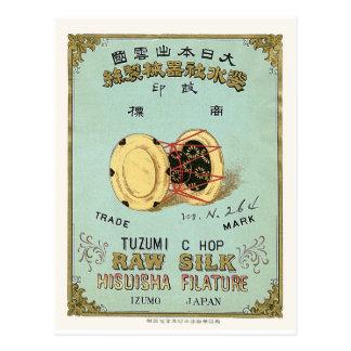 Etiqueta de seda japonesa del vintage del tambor postal