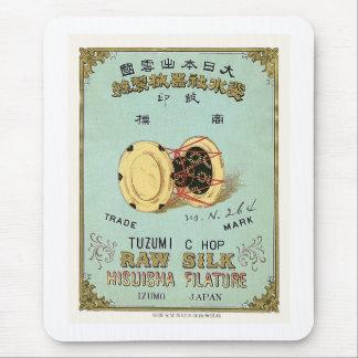 Etiqueta de seda japonesa del vintage del tambor tapete de ratones