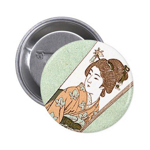 Etiqueta de seda japonesa del vintage japonés del  pin