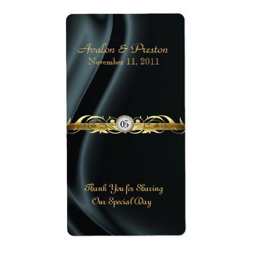 Etiqueta de seda negra del boda del vino de la etiquetas de envío