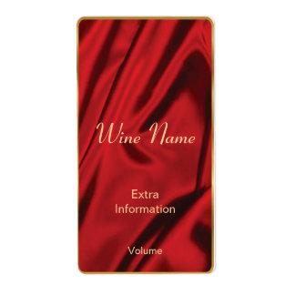 Etiqueta de seda roja del vino etiquetas de envío
